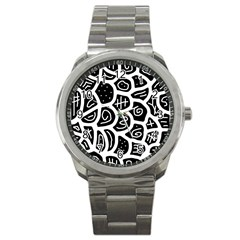 Black and white playful design Sport Metal Watch