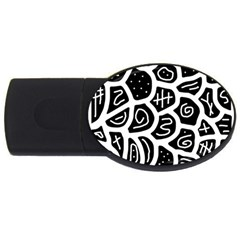 Black and white playful design USB Flash Drive Oval (4 GB)
