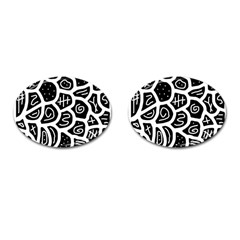 Black and white playful design Cufflinks (Oval)