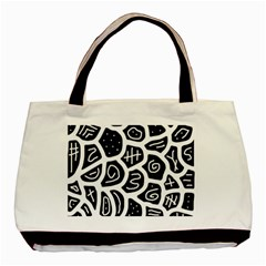 Black and white playful design Basic Tote Bag