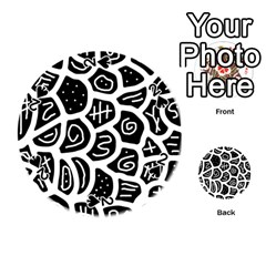 Black and white playful design Playing Cards 54 (Round)