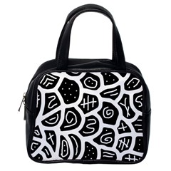 Black and white playful design Classic Handbags (One Side)