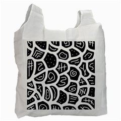 Black and white playful design Recycle Bag (Two Side)
