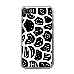 Black and white playful design Apple iPhone 4 Case (Clear)