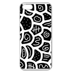 Black and white playful design Apple Seamless iPhone 5 Case (Clear)