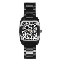 Black and white playful design Stainless Steel Barrel Watch