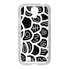 Black and white playful design Samsung GALAXY S4 I9500/ I9505 Case (White)