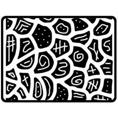Black and white playful design Double Sided Fleece Blanket (Large)