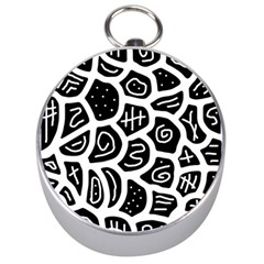 Black and white playful design Silver Compasses