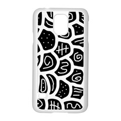 Black and white playful design Samsung Galaxy S5 Case (White)