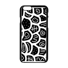 Black and white playful design Apple iPhone 6/6S Black Enamel Case