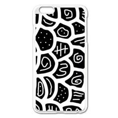 Black and white playful design Apple iPhone 6 Plus/6S Plus Enamel White Case