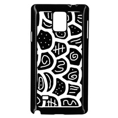 Black and white playful design Samsung Galaxy Note 4 Case (Black)