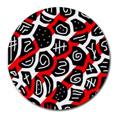 Red playful design Round Mousepads