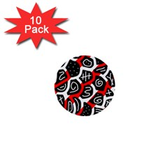 Red playful design 1  Mini Buttons (10 pack)