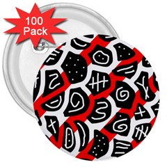 Red playful design 3  Buttons (100 pack)
