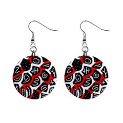 Red Playful Design Mini Button Earrings