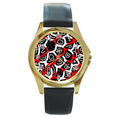 Red playful design Round Gold Metal Watch