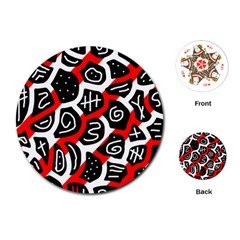 Red playful design Playing Cards (Round)