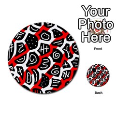 Red playful design Multi-purpose Cards (Round)