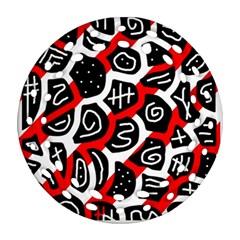 Red playful design Ornament (Round Filigree)