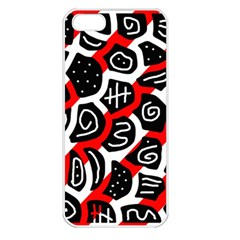 Red playful design Apple iPhone 5 Seamless Case (White)