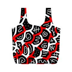 Red playful design Full Print Recycle Bags (M)