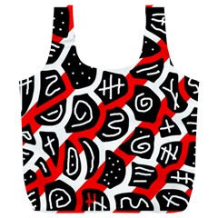 Red playful design Full Print Recycle Bags (L)