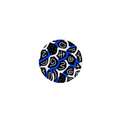 Blue playful design 1  Mini Buttons