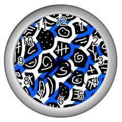 Blue playful design Wall Clocks (Silver)