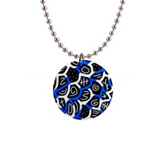 Blue playful design Button Necklaces