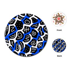 Blue playful design Playing Cards (Round)
