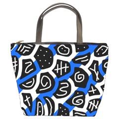 Blue playful design Bucket Bags