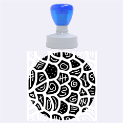 Blue playful design Rubber Round Stamps (Large)
