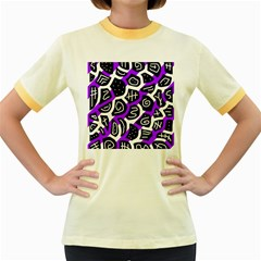 Purple playful design Women s Fitted Ringer T-Shirts