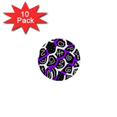 Purple playful design 1  Mini Buttons (10 pack)