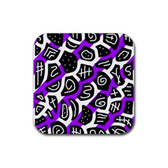 Purple playful design Rubber Square Coaster (4 pack)