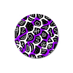 Purple playful design Magnet 3  (Round)