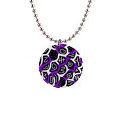 Purple playful design Button Necklaces