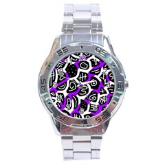 Purple playful design Stainless Steel Analogue Watch