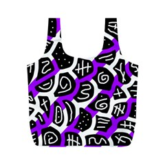 Purple playful design Full Print Recycle Bags (M)