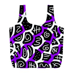Purple playful design Full Print Recycle Bags (L)