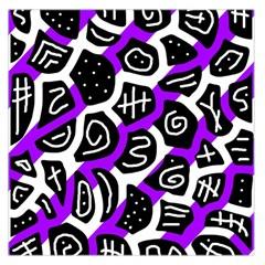 Purple playful design Large Satin Scarf (Square)