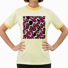 Magenta playful design Women s Fitted Ringer T-Shirts