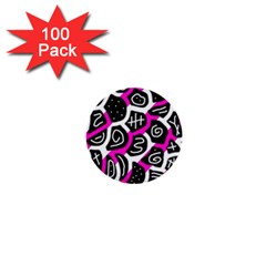 Magenta playful design 1  Mini Buttons (100 pack)