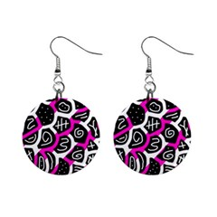 Magenta playful design Mini Button Earrings