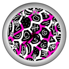 Magenta playful design Wall Clocks (Silver)