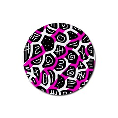 Magenta playful design Rubber Coaster (Round)