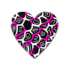 Magenta playful design Heart Magnet