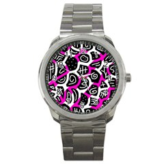 Magenta playful design Sport Metal Watch